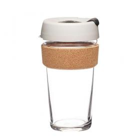 Keep Cup aus Glas (Filter Cork Edition) ~ 1 Becher mit Deckel 16 oz