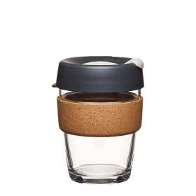 Keep Cup aus Glas (Press Cork Edition) ~ 1 Becher mit Deckel 12 oz