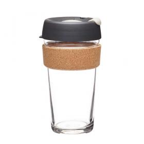 Keep Cup aus Glas (Press Cork Edition) ~ 1 Becher mit Deckel 16 oz
