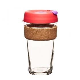 Keep Cup aus Glas (Sumac Cork Edition) ~ 1 Becher mit Deckel 16 oz