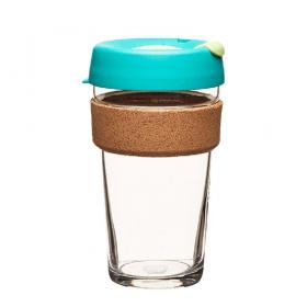Keep Cup aus Glas (Thyme Cork Edition) ~ 1 Becher mit Deckel 16 oz